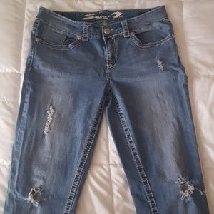 Seven7 lighter washed ripped jeans